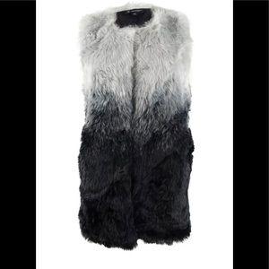 INC Women's Ombre Faux-Fur Vest (S/M, Black) nwt